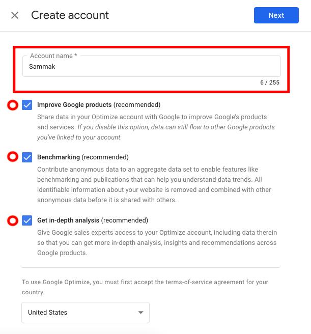 ساخت اکانت Account در گوگل اپتیمایز
