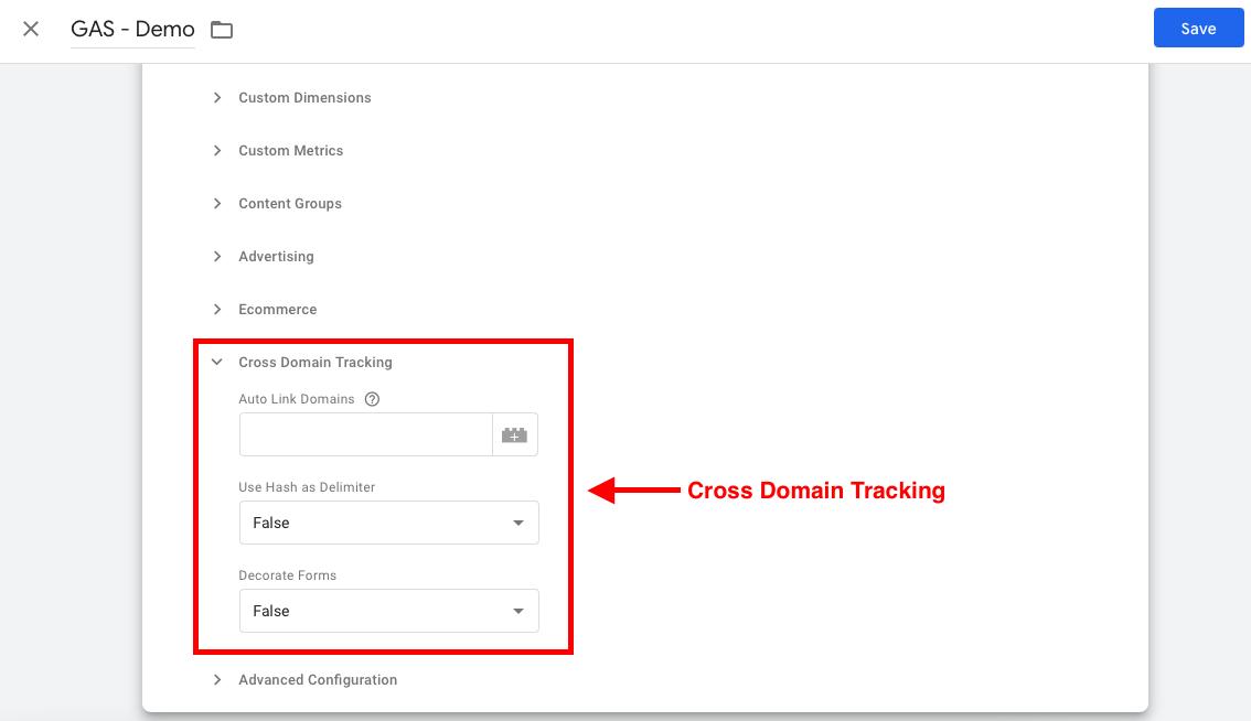 تنظیمات Cross Domain Tracking در متغیر گوگل آنالیتیکس در گوگل تگ منیجر