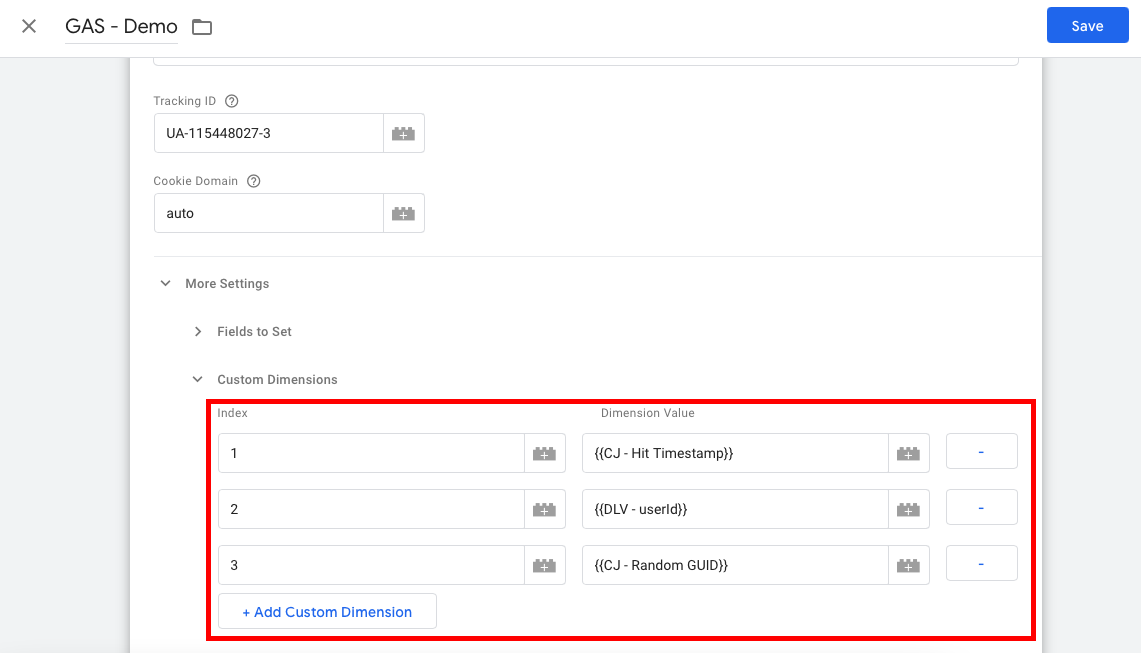بخش کاستوم دیمنش در تنظیمات متغیر گوگل آنالیتیکس در گوگل تگ منیجر
