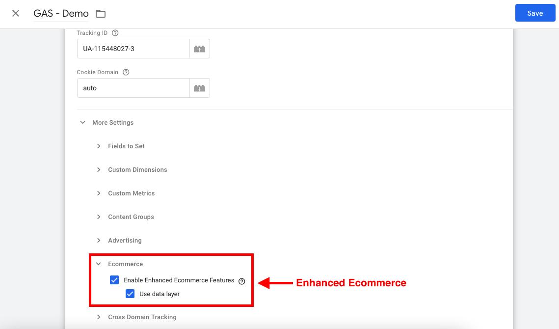 تنظیمات enhanced ecommerce در متغیر گوگل آنالیتیکس در گوگل تگ منیجر