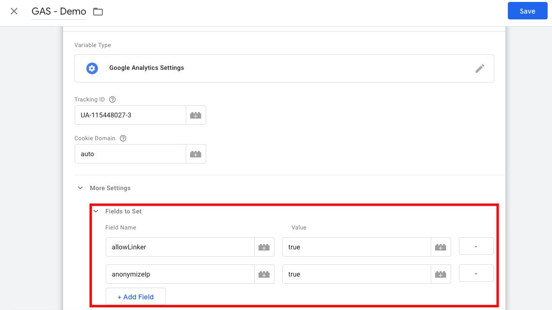 فیلدهای قابل ست کردن در تنظیمات متغیر گوگل آنالیتیکس در گوگل تگ منیجر