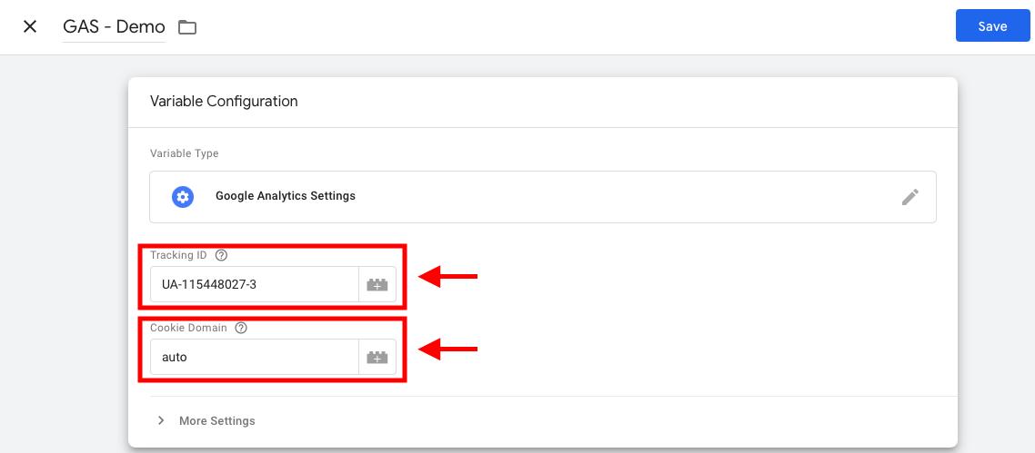 بخش ترکینگ آی دی در تنظیمات متغیر گوگل آنالیتیکس در تگ منیجر