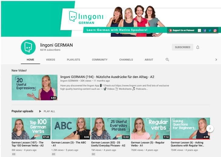 کانال یوتوبی لینگونی برای یادگیری زبان آلمانی